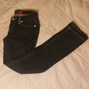 COOGI Australia rainbow colored dark wash jeans